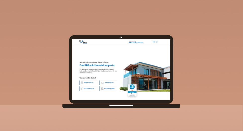 Laptop BBBank Immobilienportal Finanzierung