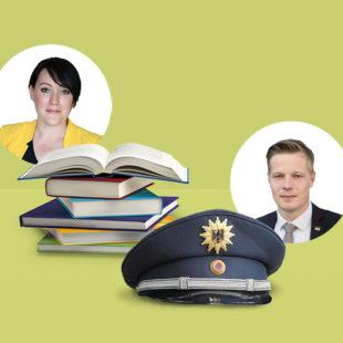 Krisenbewältiger Lehrerin Polizist Bücher Uniform Schirmmütze