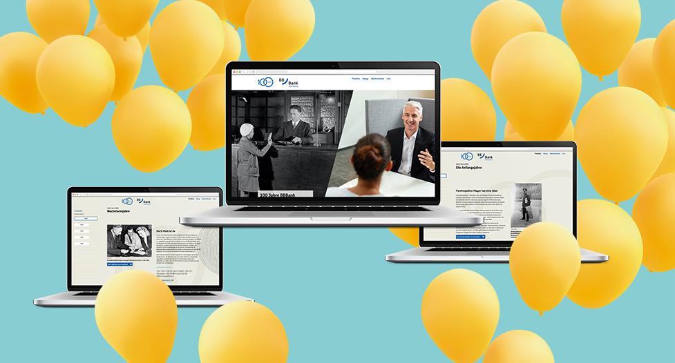 100 Jahre BBBank Laptop Luftballon gelb